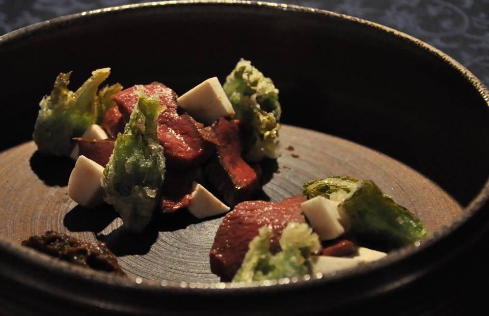鹿肉の焼き物 里芋とふきのとう味噌