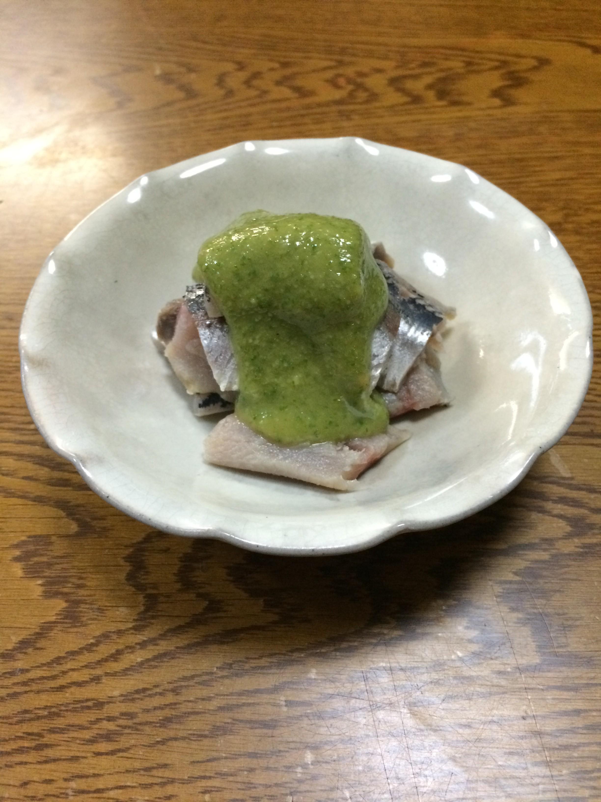 イワシの酢じめ 木の芽味噌